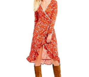Free People Red Covent Garden Dress NWT